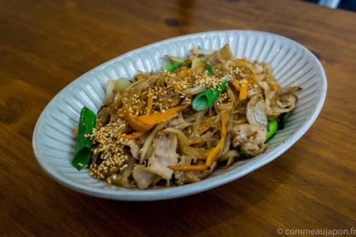 Japchae – Vermicelles aux porc, carottes et oignons