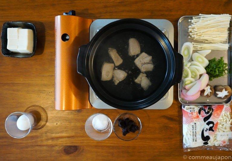 miso Udon step3 Udon au miso rouge poulet et légumes - Miso Nikomi Udon