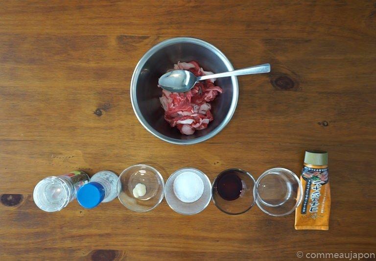 riceCooker Beef Kimchi etape 2 Recette pour Rice Cooker : Riz au boeuf, kimchi et jaune d'œuf