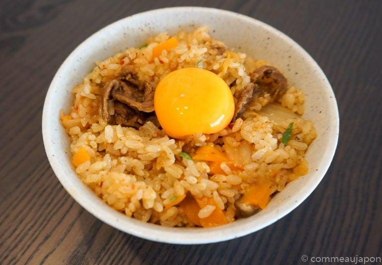 riceCooker Beef Kimchi etape 5 Recette pour Rice Cooker : Riz au boeuf, kimchi et jaune d'œuf