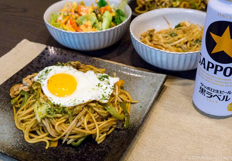 yakisoba et oeuf au plat