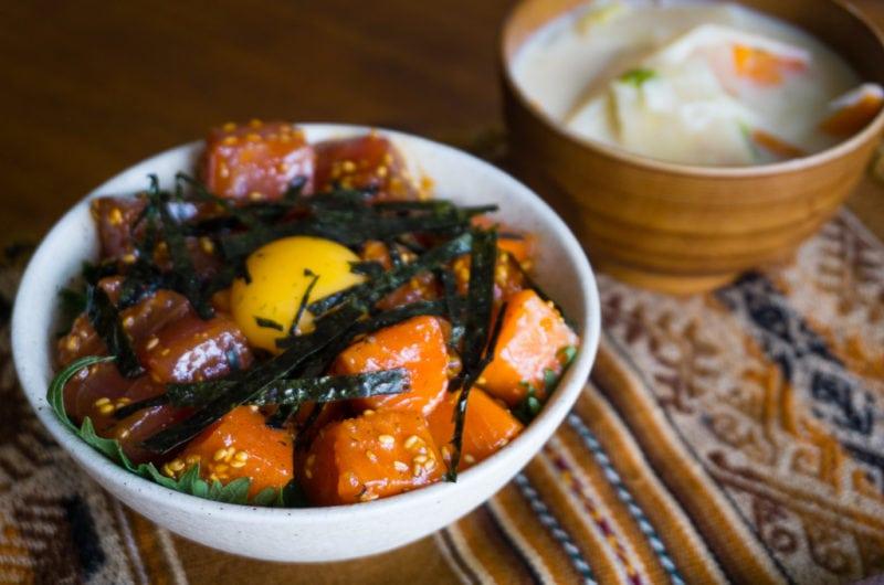 Yukke don de thon et saumon