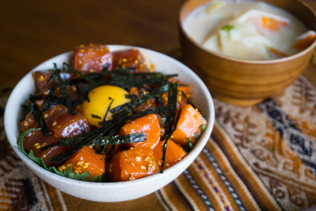 Yukke don de thon et saumon – Thon et Saumon marinés