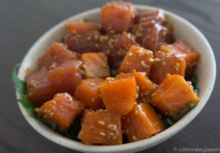 yukkedon thon saumon Etape 3 Yukke don de thon et saumon - Thon et Saumon marinés