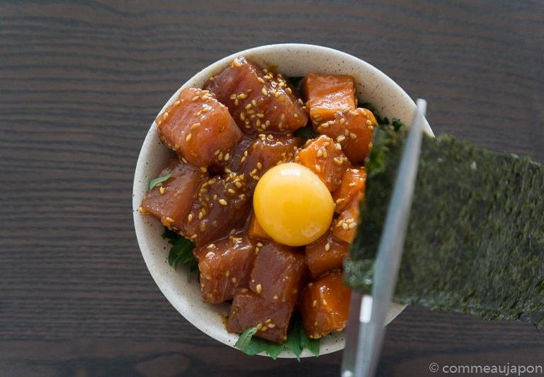 yukkedon thon saumon Etape 4 Yukke don de thon et saumon - Thon et Saumon marinés