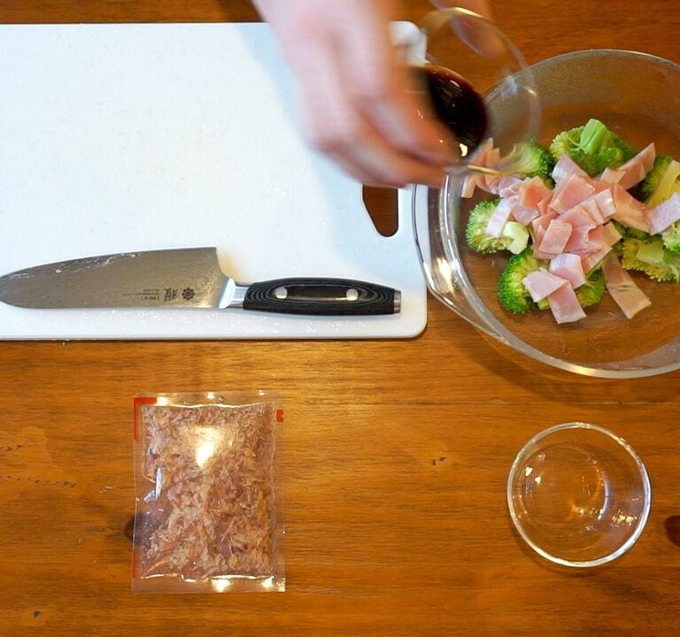 Brocoli 1.15.1 Salade de brocoli, jambon et bonite séchée