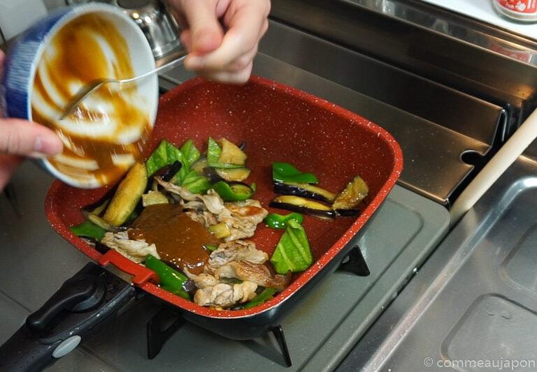 porc aubergine miso etape cuisson 4 Sauté de porc, aubergines et poivrons verts sauce miso piquante