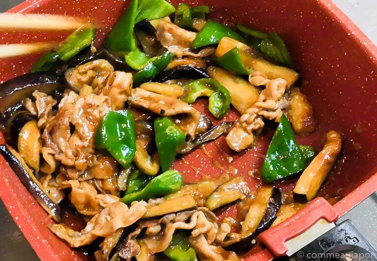 porc aubergine miso etape cuisson 4.1 Sauté de porc, aubergines et poivrons verts sauce miso piquante