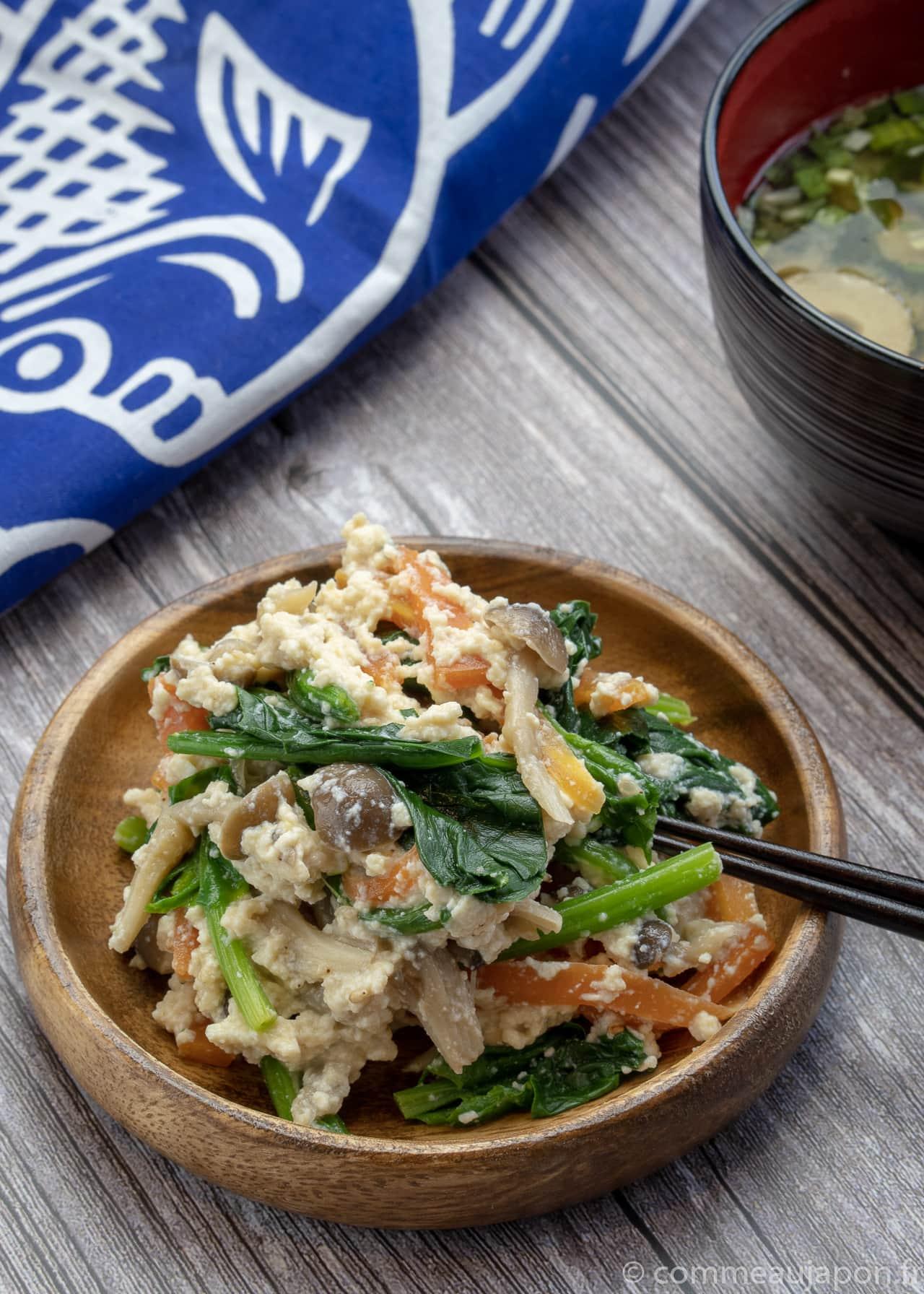 gyudon shirae 1 of 3 Shiraae - Salade au tofu crémeux - 白和え