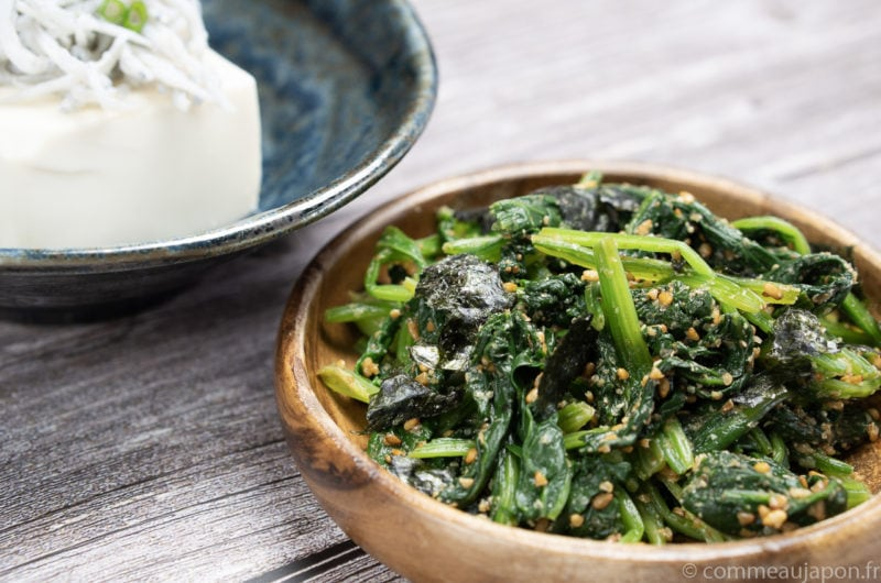 Salade d'épinards au sésame - Hōrenso gomaae
