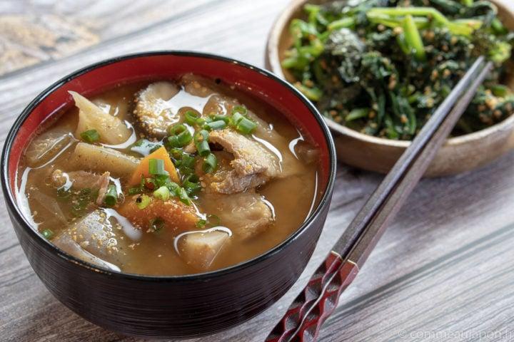 Tonjiru – Soupe miso au porc et légumes